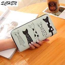 Luxury High Quality Women Cat Cartoon Wallet Creative Female Card Holder Casual Zip Ladies Clutch PU Leather Coin Purse 179