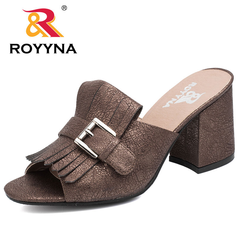ROYYNA New Fashion Style Women Slides Fringe Square High Heels Women Slippers Comfortable Soft Female Sandals Fast Free Shipping royyna new sweet style women sandals cover heel summer gingham women shoes casual gladiator ladies shoes soft fast free shipping