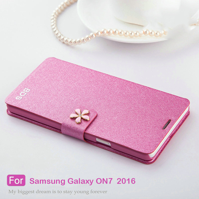 For Samsung Galaxy ON7 2016 case, Xinyi Series Luxury Silk PU Leather Flip back cover for Samsung Galaxy ON7 2016/SM-G6100