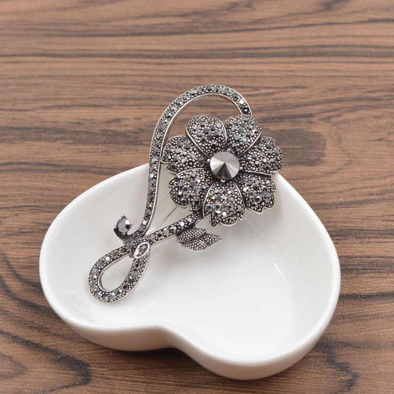 Cinkile Berlian Imitasi Bunga Bros untuk Wanita Elgant Gaun Pernikahan Pin Bros Vintage Aksesoris Pesta Perhiasan Baru 2017