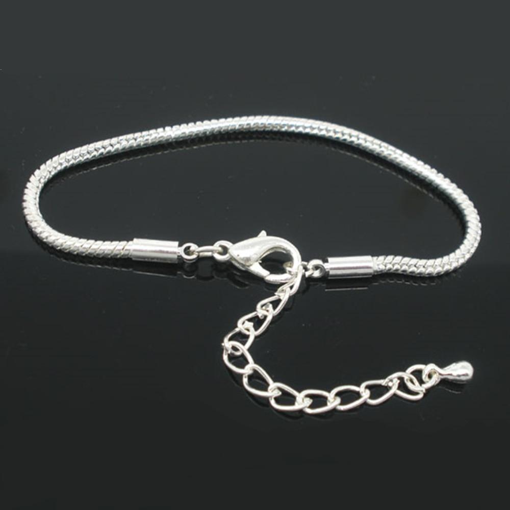 DoreenBeads 2016 Wholesale 4 PCs Silver color Lobster Clasp Snake Chain Bracelets for Women Men Fit European Charm 19cmx2.5mm