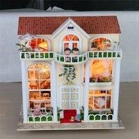 Handmake поделки из дерева Sweet Home кукольная Миниатюра с светодиодный Музыка мебель чехол кукла комната Рождественский подарок на день рождения