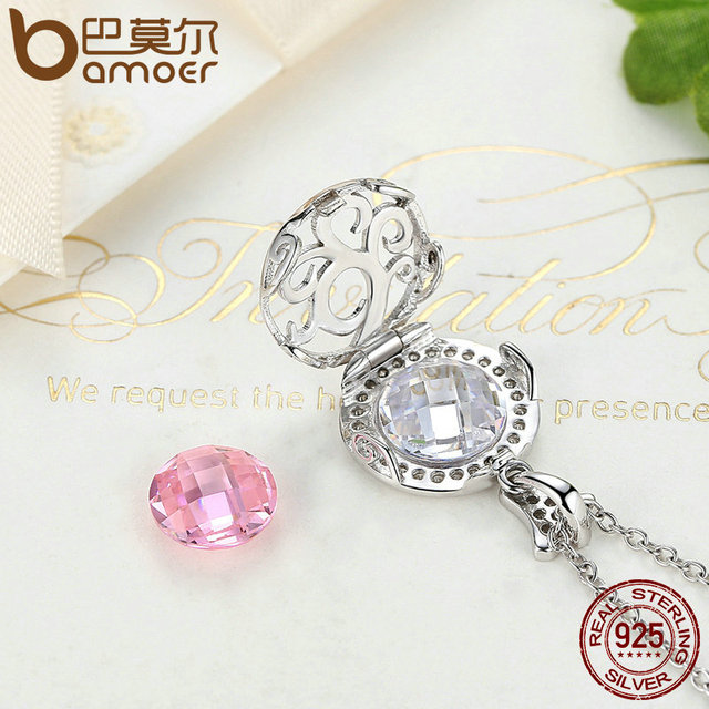 Sterling Silver Pink Clear CZ Accessories Necklaces