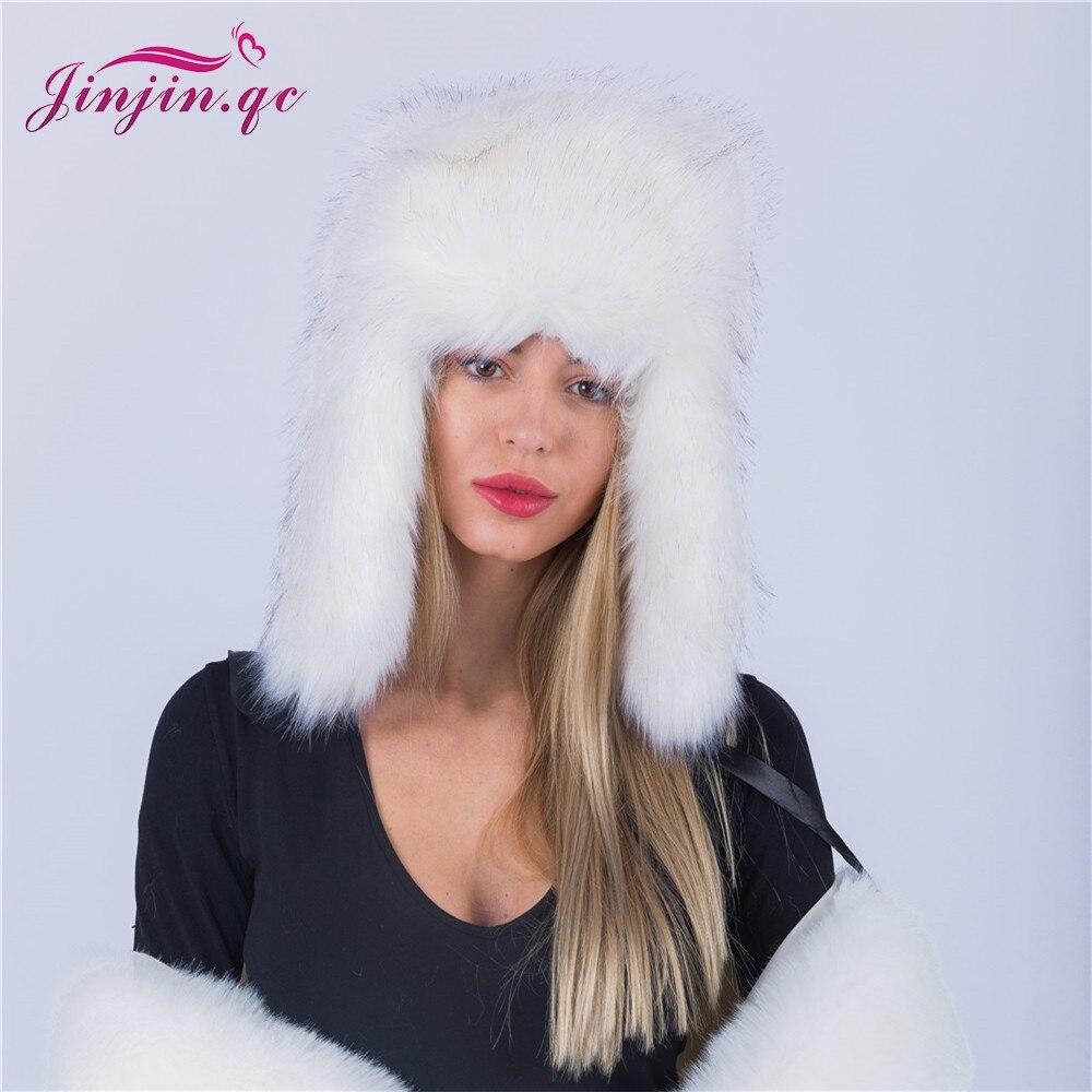 Jinjin.QC Winter Hat Female Faux Fur Hat Russian Furry Warm Women Mongolian Cap with Faux Fur ear protecter Skullies & Beanies christmas faux fur fitted velvet short party dress with hat