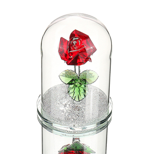 Image 1 - H&D Red Preserved Crystal Rose Flower in Glass Dome Ornament Collectible Gift Craft for Valentines Day Anniversary Birthday