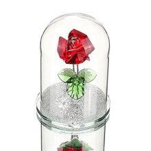 H & D אדום השתמר קריסטל רוז פרח ב זכוכית כיפת קישוט אספנות מלאכת מתנת חג אהבת יום נישואים יום הולדת