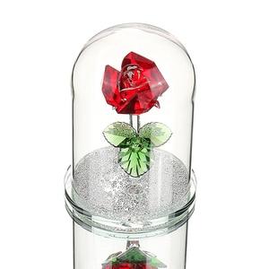 Image 1 - H & D אדום השתמר קריסטל רוז פרח ב זכוכית כיפת קישוט אספנות מלאכת מתנת חג אהבת יום נישואים יום הולדת