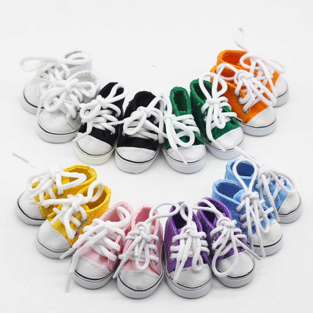 Dolls 5*2.8cm Canvas Mini Toy Shoes For Exo Dolls For 14.5 Inch Doll Wellie Wishers Boots Accessories Girl Dolls Gift Toys