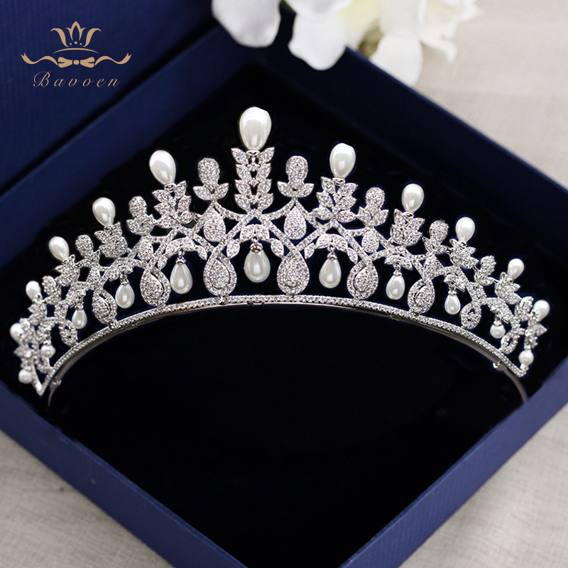 Royal Princess Silver Wedding Tiaras Crowns Freshwater Pearls Brides Hairbands Zircon Crystal Wedding Hair Accessories Gifts high end silver wedding hairbands royal princess full zircon crystal tiaras crowns for brides evening hair accessories