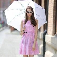 Veri Gude Лето Dress Плед Dress Pleated Cotton Dress Высокой Талией Упругой
