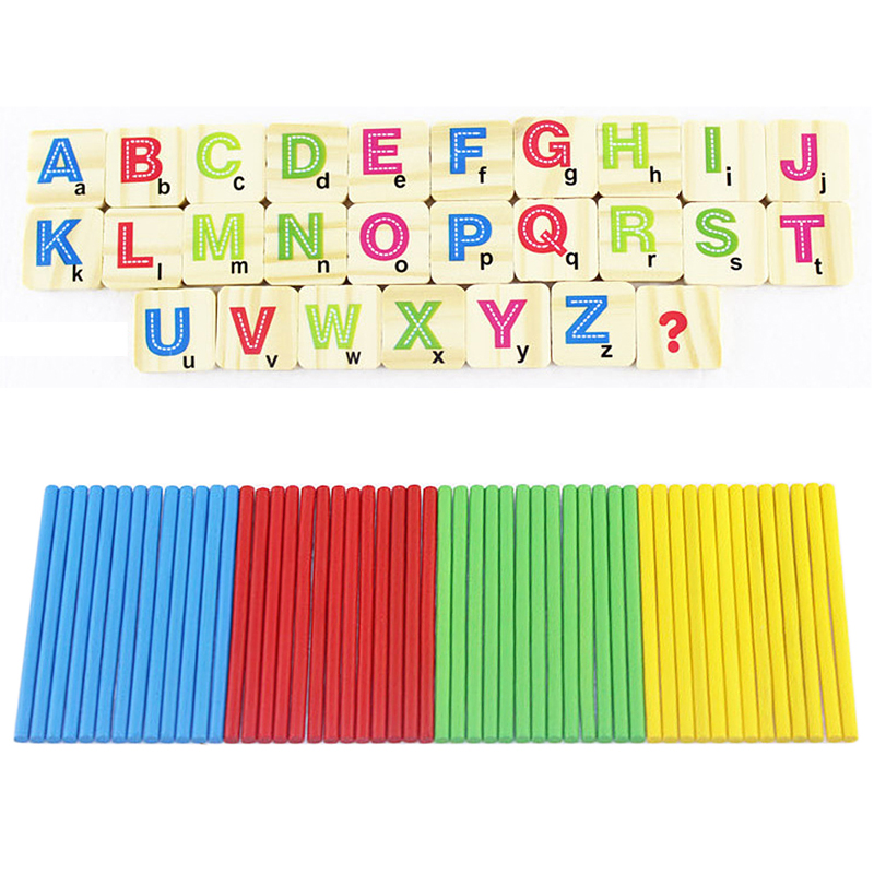 Math Toys For Kids : Children wooden numbers stick mathematics early learning