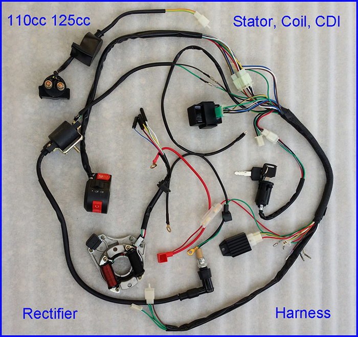 STOCK IN USA 50 70 90 110CC 125cc WIRE HARNESS WIRING CDI ASSEMBLY ATV QUAD COOLSTER 110cc pit bike wiring diagram pit bike wiring harness diagram  at aneh.co