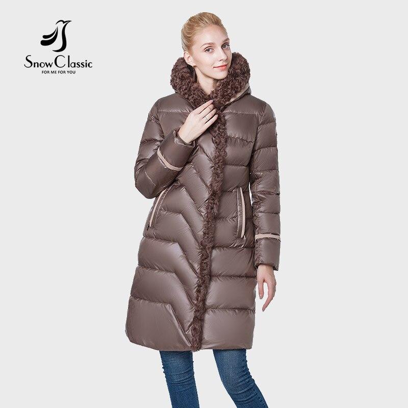 Neige Classique Le Nouveau 2018 camperas mujer abrigo invierno veste femmes manteau femmes parc Haute-fin de la laine un chapeau épais Coupe-Vent
