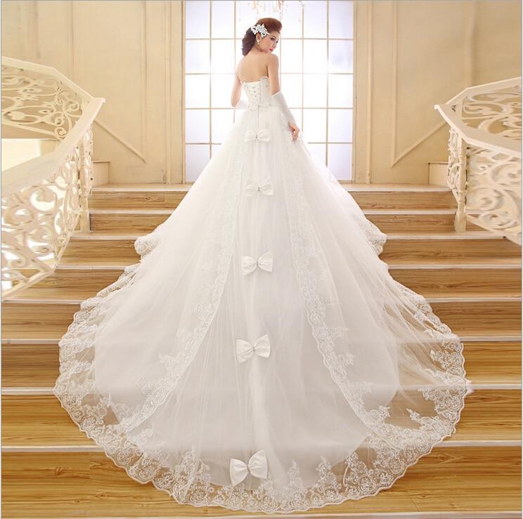 2015 Best Selling Wedding Dress Ball Gown Train Sweetheart Crystal ...