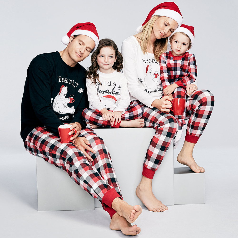 Christmas Print Grid Long Sleeve Sleepwear Family Matching Outfits Homewear Pajamas Men Women Children Christmas Costume