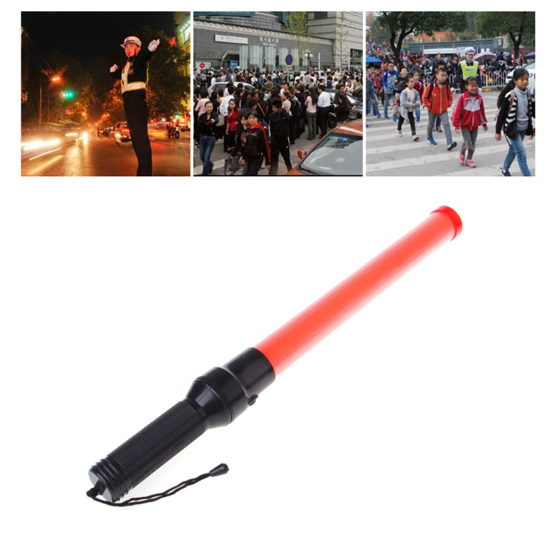Plastic Traffic Wand Powerful LED Flashlight Torch 3 Modes Strobe Setting