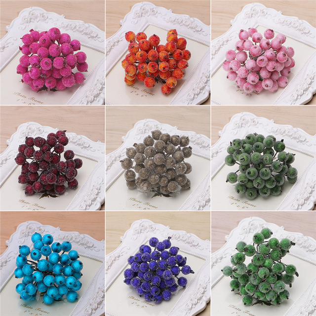 40pcs Mini Fake Fruit glass Berries Artificial pomegranate red cherry Bouquet Stamen Christmas Decorative Double heads -Y102 2