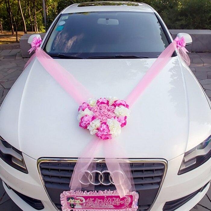 buy new tulle heart rose pll flowers wedding car with flower decoration sets. Black Bedroom Furniture Sets. Home Design Ideas
