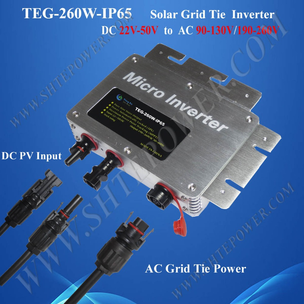 260W IP65 Solar Micro Inverter Grid Tie MPPT DC 22V-50V to AC 90V-130V / 190V-260V maylar 22 60vdc 300w dc to ac solar grid tie power inverter output 90 260vac 50hz 60hz