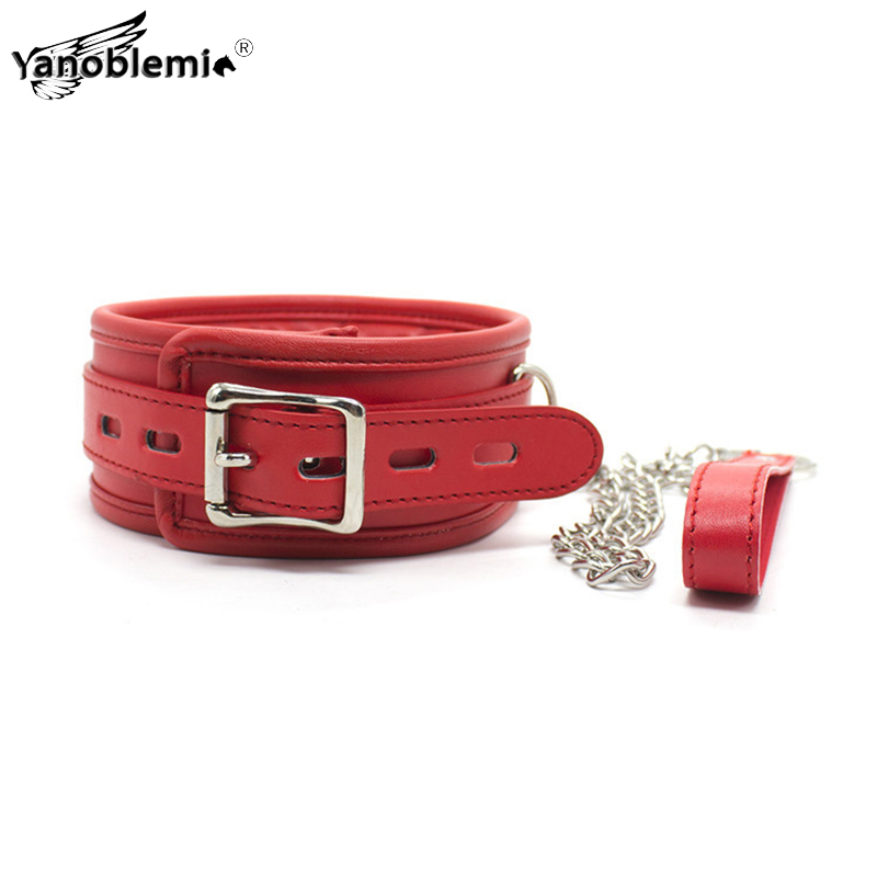 Red PU Leather Sponge <font><b>Bdsm</b></font> <font><b>Collar</b></font> Sex Toys For Woman Bondage Fetish <font><b>Slave</b></font> Metal Chain Leash Lingerie Sexy Erotic Games Adults image