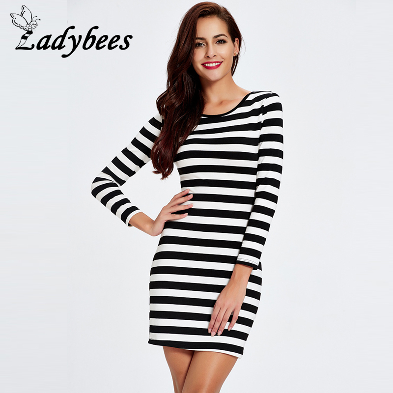 Willstage Striped Dress Women Black And White Red Both Two Sides