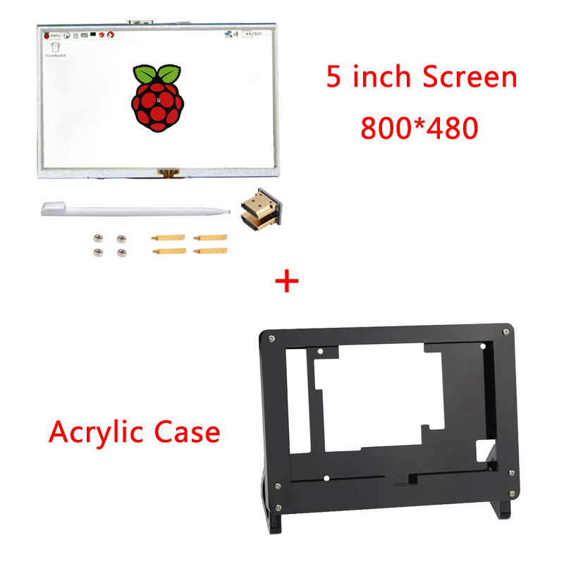 5 inch Screen Raspberry Pi 3 800*480 Touch Screen HDMI Interface LCD Display + Acrylic Case for Raspberry Pi 3 Model B Plus spiral cable sub assy for jeep wrangler patriot grand cherokee commander dodge nitro caliber chrysler 200 sebring 5156106ab