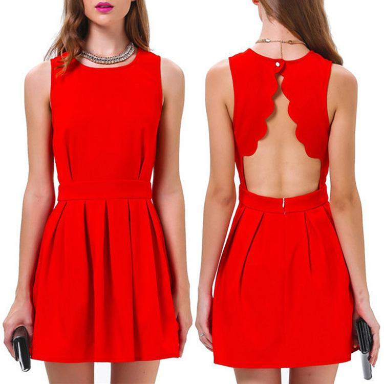 Buy Cheap Free Shipping Womens Summer Casual Evening Mini Dress Red Sleeveless Sexy Tropical Slim Novelty Backless Short Party Dress