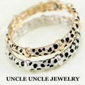 Beautiful!! Rose Gold Plated Brand Design Austrian Rhinestone Leopard Grain Spotted Style Lady Bangle Bracelet