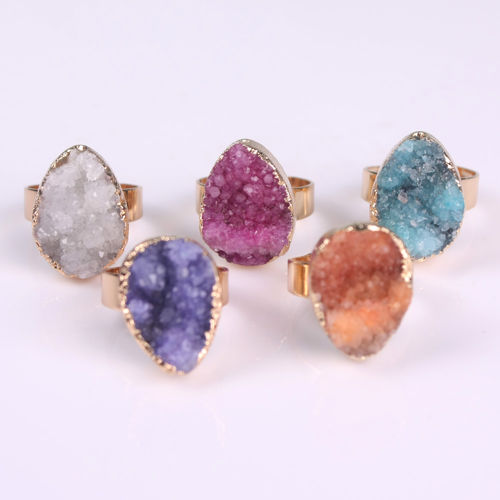 Natural Stone Druzy Quartz Crystal Women Rings Drusy Green Rose Raw Stone Wedding Vintage Rings Female