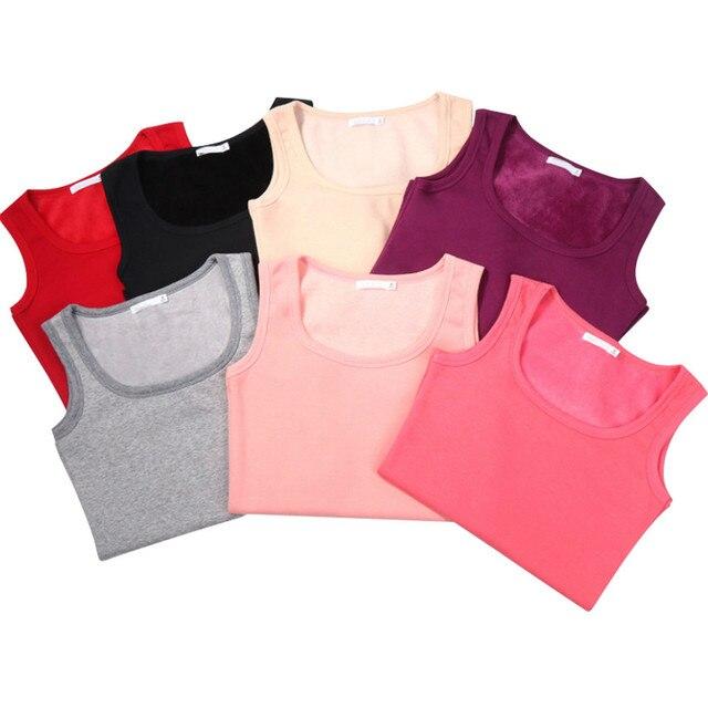 New Autumn Winter Fashion Warm Plus Size Women Cotton Tops Based Sleeveless Female Thick Velvet Vests Tanks Tees Bottoms WZ117 4