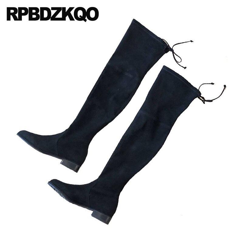 Automne Daim Bout Taille Cuissardes Sur Rond Stretch Mode Noir Slim 4 Long Marque Le Bottes 2018 Genou Femmes Chunky En Chaussures BZFxwF