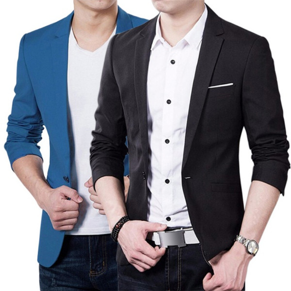 Male Blazers Jacket Suit Wedding-Wear Slim-Fit Blue Korean-Style Plus-Size Cotton Coat