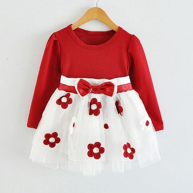 de5165029c0 HOT New Infant Baby Girls Long Sleeve Flower Lace Tutu Dresses vestidos  Todler Kids Cute 1