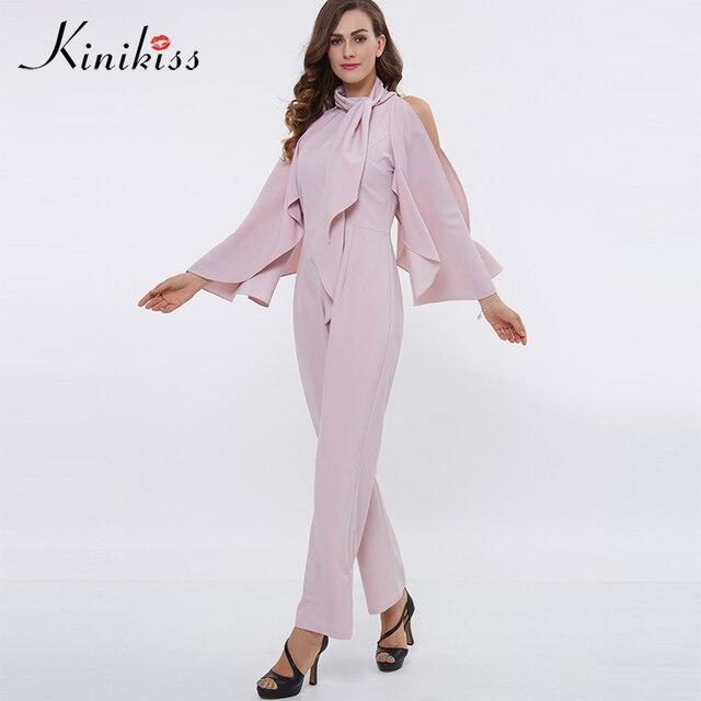 b748dac3777d Kinikiss women pink rompers jumpsuit 2018 spring long sleeve ruffles  straight fashion playsuit female elegant straight bodysuit