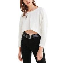 Cropped Sweatshirt Women Pullover Ariana Grande Got7 Harajuku Kpop Blackpink Monsta X White Cotton Crop Top Sweatshirts