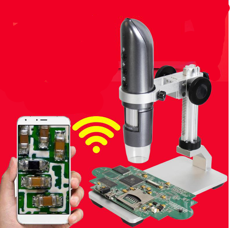 Wireless Digital Microscope 1000X for  IOS Android Mobile Phone wifi Photo Video HD USB Endoscope Magnifier Camera Al-alloy Base