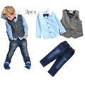 Spring&Autumn Suits for Boys Solid Shirt+Strap jeans+ Gentle Vest European style High Quality Babay clothes For Little Gentle