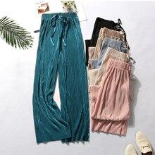 DASSWEI Sommer Breite Bein Hosen Für Frauen Casual Elastische Hohe Taille 2021 Neue Mode Lose Lange Hosen Plissee Hose Hose femme