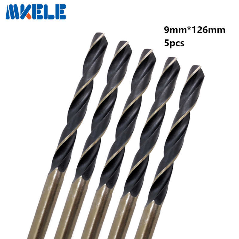 Hot 5pcs/box 9.0mm bits Straight Shank HSS/High Speed Steel Twist Drill Bit Woodworking Tools For Metal free shipping 1pc hss 6542 made cnc full grinded hss taper shank twist drill bit 18 5mm 223mm for steel
