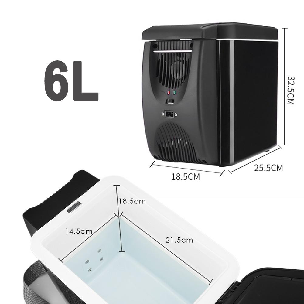 Refrigerador el/éctrico Nevera port/átil con congelador para Viaje Picnic Hook.s 6 L12V Refrigerador Congelador Calentador Mini Auto congelador Refrigerador y Calentador Camping