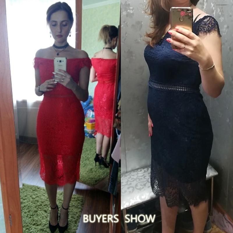 42658084c6a SEBOWEL 2019 Sexy Red Lace Bardot Party Midi Dress Women Short Sleeves Off  Shoulder Bodycon Dresses Ladies Slash neck Club wear-in Dresses from Women s  ...