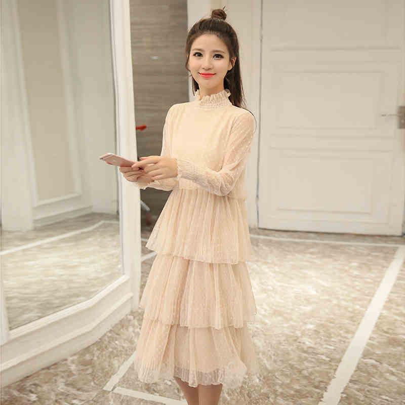 2018 autumn long sleeve long big girls dress black gray beige teenage girl clothes14 16 15 years old Korean fashion lace vintage black long sleeve lace dress