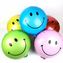 New 18-inch Smiling Face Aluminium Film Balloon Birthday Party Decoration Smiling Face Welcome Pillar Smiling Face Seven Colors