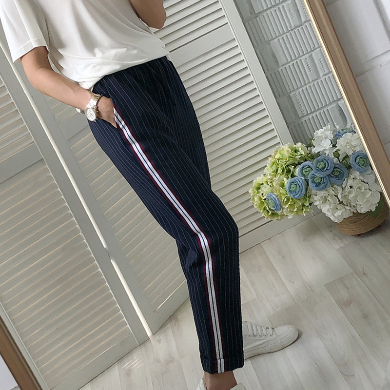 women pants and fall casual pants striped side with decorative elastic waist harem pants