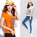 Nuevo 2016 mujeres del verano Camiseta Delgada de la manera impreso diamond plus size 4XL Camiseta de manga corta cuello redondo tejer Camiseta de algodón