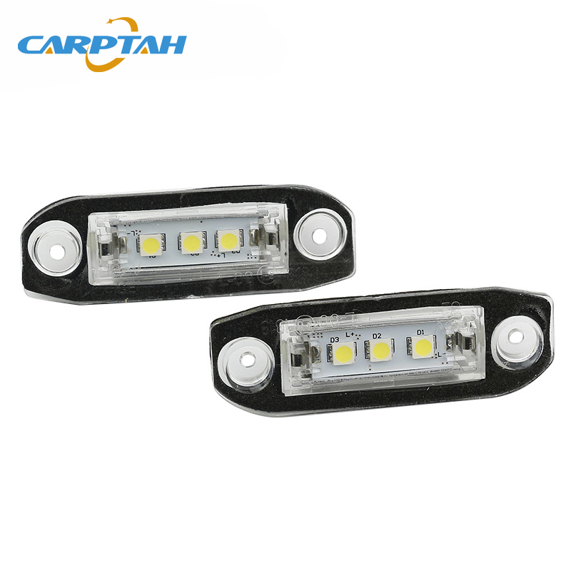 CARPTAH 2pcs License Plate <font><b>Light</b></font> LED Car <font><b>Rear</b></font> Number Lamp Auto Bulbs For <font><b>Volvo</b></font> <font><b>S80</b></font> XC90 S40 V60 XC60 S60 C70 V50 XC70 V70 image