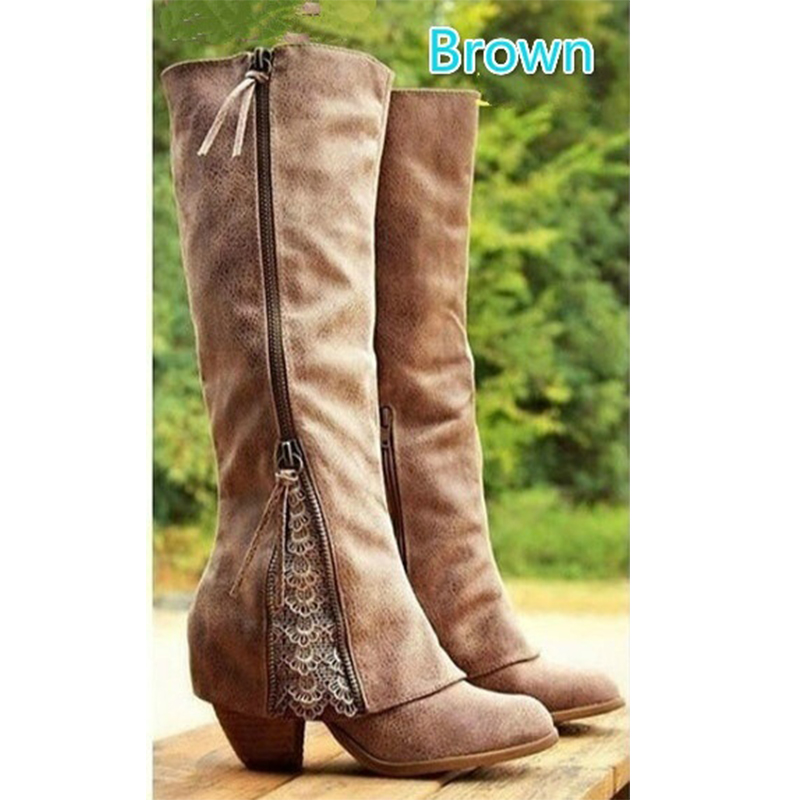 Image 4 - Boots Women Shoes Winter Knee High Boots Fold Over Design Lace Botas Mujer Ladies Shoes Botas Mujer Invierno 2019-in Knee-High Boots from Shoes
