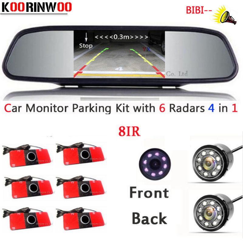 KOORINWOO Car Monitor Video System Car Parking Sensors Parktronic 16.5MM Reverse Radars Car Rear view camera Parking Assistance for ford escape maverick mariner car parking sensors rear view back up camera 2 in 1 visual alarm parking system