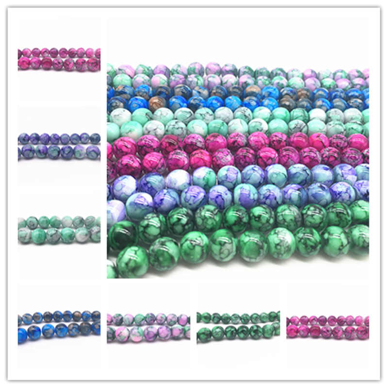Wholesale 6/8/10mm Double Color Decorative Pattern Glass Beads Loose Spacer Painted Charm DIY Jewellery Making