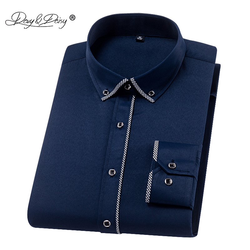 DAVYDAISY 2020 Autumn New Men Shirts Long Sleeve Fashion Solid Twill Business Causal Male Shirt Brand Slim Fit Clothes DS268